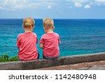 happy kids have fun in sea surf ... | Shutterstock . vector #1142480948