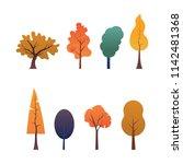 autumn tree design collection | Shutterstock .eps vector #1142481368