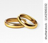 golden wedding rings 3d... | Shutterstock .eps vector #1142500232