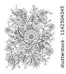 floral mandala pattern in black ...   Shutterstock .eps vector #1142504345