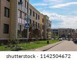 a low rise residential block in ... | Shutterstock . vector #1142504672