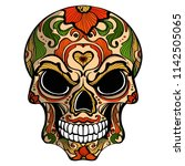 day of the dead  skull with... | Shutterstock .eps vector #1142505065