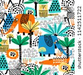 safari animals seamless pattern ... | Shutterstock .eps vector #1142511722