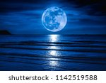 super moon. colorful blue sky... | Shutterstock . vector #1142519588