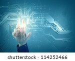 future technology. touch button ... | Shutterstock . vector #114252466