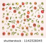 fresh tomatoes and leaves ... | Shutterstock . vector #1142528345