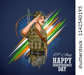illustration of indian army... | Shutterstock .eps vector #1142540195