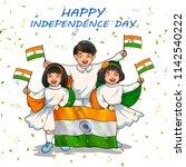illustration of indian kid... | Shutterstock .eps vector #1142540222