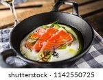 marinated salmon with cream... | Shutterstock . vector #1142550725