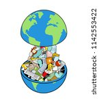 earth garbage dump. planet and... | Shutterstock .eps vector #1142553422