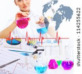 collage with scientists working ... | Shutterstock . vector #114255622