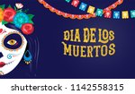 Stock vector dia de los muertos day of the dead mexican holiday festival vector poster banner and card with 1142558315