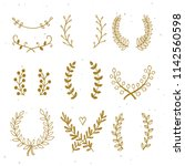 gold laurels and wreaths design ... | Shutterstock .eps vector #1142560598