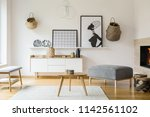 posters and baskets on white... | Shutterstock . vector #1142561102