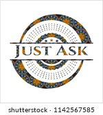 just ask arabesque style emblem.... | Shutterstock .eps vector #1142567585