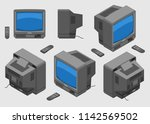 old fashioned gray tv with... | Shutterstock .eps vector #1142569502