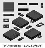 isometric vintage black vcr ... | Shutterstock .eps vector #1142569505