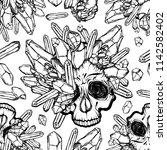 vector illustration. skull with ... | Shutterstock .eps vector #1142582402
