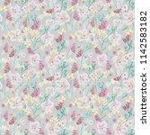seamless pattern  watercolor... | Shutterstock . vector #1142583182