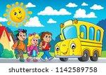 children by school bus theme... | Shutterstock .eps vector #1142589758