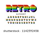 colorful retro font  80s style... | Shutterstock .eps vector #1142592458