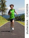 boy running  jumping outdoor | Shutterstock . vector #114260206