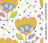 vector flower pattern.... | Shutterstock .eps vector #1142605442