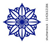 floral ornament. navy blue...   Shutterstock .eps vector #1142612186