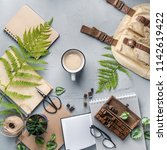 hipster travel objects flatlay... | Shutterstock . vector #1142619422