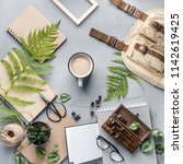 hipster travel objects flatlay... | Shutterstock . vector #1142619425