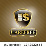 golden emblem with stack of... | Shutterstock .eps vector #1142622665