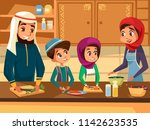 arab family cooking together at ... | Shutterstock . vector #1142623535