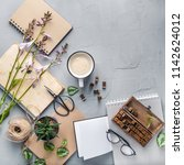 hipster student objects flatlay ... | Shutterstock . vector #1142624012