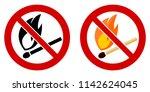 no open fire burning symbol.... | Shutterstock .eps vector #1142624045