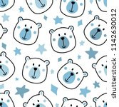 Stock vector blue baby boy bear seamless repeat pattern nursery star background 1142630012