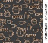 coffee cups on dark background. ... | Shutterstock .eps vector #1142635235