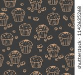 muffins on dark background.... | Shutterstock .eps vector #1142635268