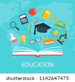 opened book of knowledge with... | Shutterstock .eps vector #1142647475