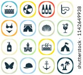 summer icons set with sunscreen ... | Shutterstock .eps vector #1142649938
