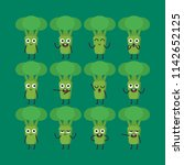 broccoli character set... | Shutterstock .eps vector #1142652125