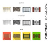 a fence of metal and bricks...   Shutterstock .eps vector #1142660042