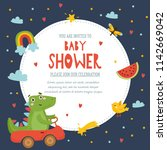 baby shower  cute childish... | Shutterstock .eps vector #1142669042