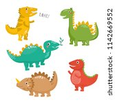 set of cute dinosaurs isolated... | Shutterstock .eps vector #1142669552