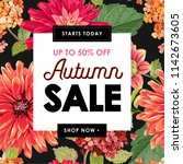 autumn sale tropical banner.... | Shutterstock .eps vector #1142673605