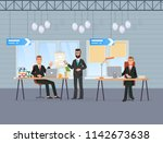 workers hold conference ... | Shutterstock .eps vector #1142673638