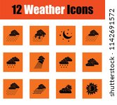 set of weather icons. orange... | Shutterstock .eps vector #1142691572