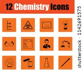 chemistry icon set. orange... | Shutterstock .eps vector #1142691575