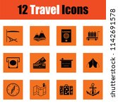 travel icon set. orange design. ... | Shutterstock .eps vector #1142691578