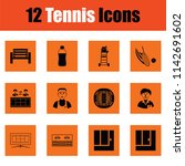 tennis icon set. orange design. ... | Shutterstock .eps vector #1142691602