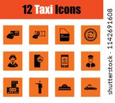 set of taxy icons. orange... | Shutterstock .eps vector #1142691608
